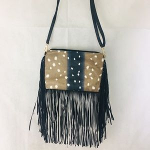 Handbags - Fringe Crossbody purse Deer Print
